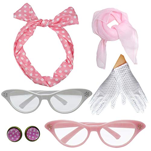 Pink Poodle Rocker - 1950s Polka Dot Style Scarf Glasses Headband Accessories Set (Pink)