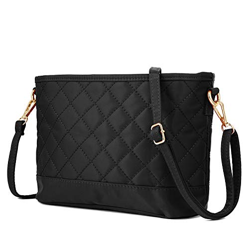 WOZEAH Women's ultralight New Fashion Crossbody Bag Shoulder Bag Hobo Bag Casual Nylon Purse Women's New Design Style Travel Handbag (1 black)