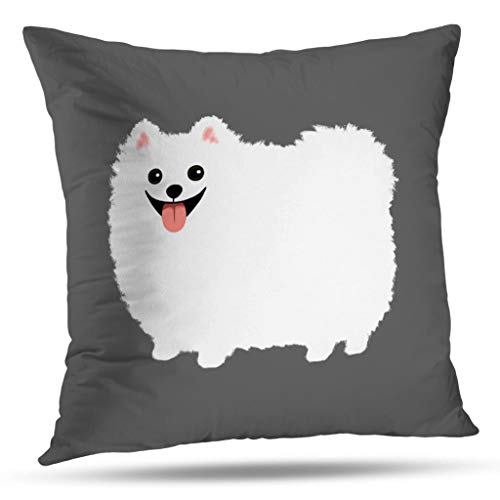 White Pomeranian - ONELZ Cute White Pomeranian Square Decorative Throw Pillow Case, Fashion Style Zippered Cushion Pillow Cover (16X16 inch)