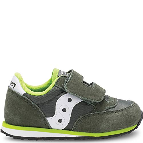 Saucony Boys' Baby Jazz HL Sneaker, Green/White, 4.5 Medium US Toddler