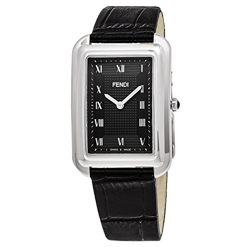 Fendi Men's 'Classico Rect' Swiss Quartz Stainless Steel and Leather Dress Watch, Color:Black (Model: - Fendi For Mens