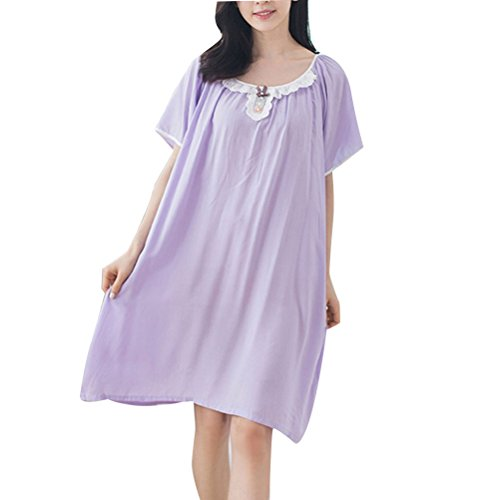 Zhhlaixing Womens Ladies Soft Knee Length Short Sleeves Nightdress Purple