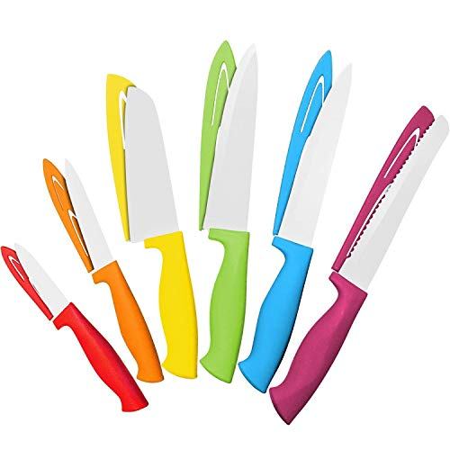 Knife Set - 6 Steel Kitchen Knives with 6 Knife Sheath Covers - Chef Knife Sets with Bread, Slicer, Santoku, Utility and Paring Knives - Colored Knife Set by Cooler Kitchen ()