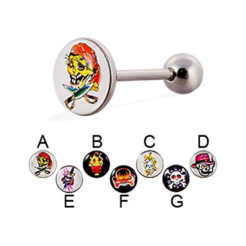 MsPiercing Skull Logo Tongue Ring, 14 Ga, G