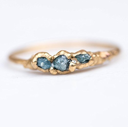 Triple Raw Blue Diamond Ring, Size 5, Yellow Gold, April Birthstone