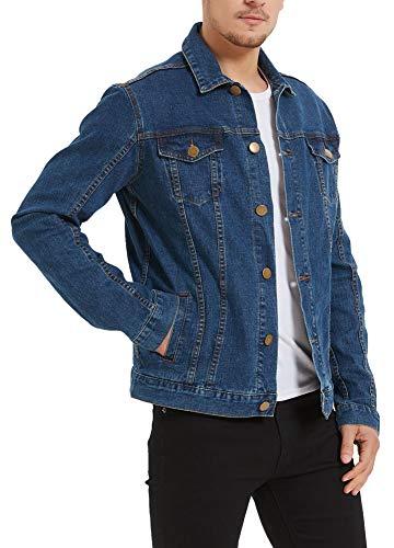 Plaid&Plain Men's Denim Trucker Jacket Men's Slim Fit Jean Jacket Stretch