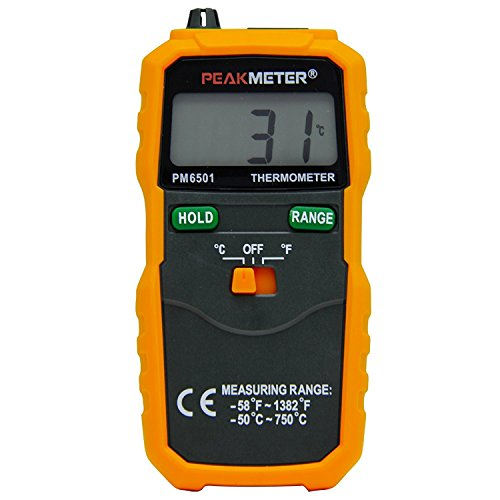 PEAKMETER PM6501 LCD Digital Instant-Read Thermometer Temperature Meter with Type K Thermocouple Sensor (Read Type)