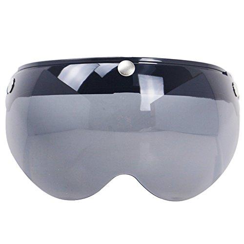 Helmet Shield Cover - KKmoon Universal Windproof 3-Snap Motorcycle Helmet Visor Front Flip Up Visor Wind Shield Lens For Motorcycle Helmet Sunglasses Light Black