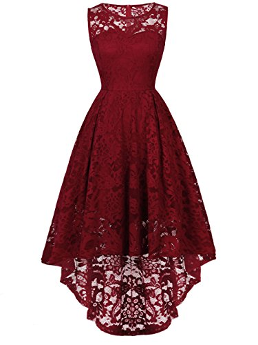 FAIRY COUPLE Woman's Hi-Low Sleeveless Vintage Wedding Party Cocktail Dress DL022(S,Burgundy) by FAIRY COUPLE