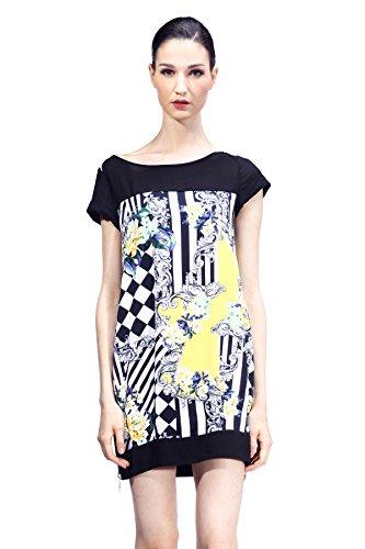 Classy-Charm-Womens-Baroque-Vintage-Dress-Flower-Printed-Checker-Stripe