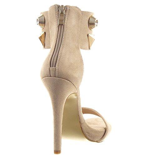 Sopily - Zapatillas de Moda Tacón escarpín Sandalias Stiletto Zapatillas de plataforma Tobillo mujer tachonado metálico Talón Tacón de aguja alto 12 CM - Beige