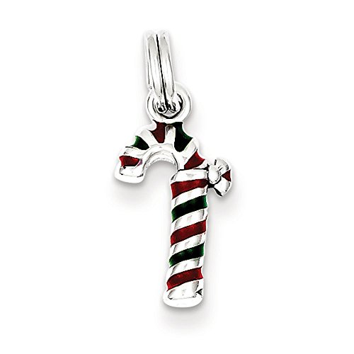 Sterling Silver Enamel Candy Cane Charm