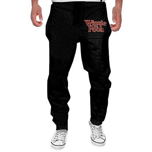 Pooh Sweatpants (Men's Winnie The Pooh Logo Drawstring Athletic Lounge Sweatpants Black L)