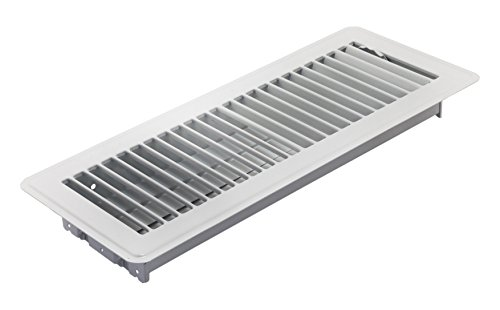 "Accord Ventilation ABFRWH412 Floor Register with Louvered Design, 4"" x 12""(Duct Opening Measurements), White"