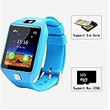 Reloj inteligente para niños con posicionamiento, resistente al agua, ideal como regalo de cumpleaños para niñas y niños, color rosa, azul y negro, Azul