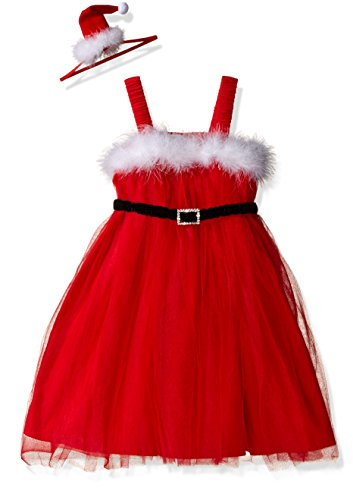 Mud Pie Baby Toddler Holiday Dress Girl, Santa Tulle, 3T-5T