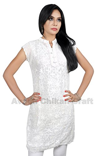 ACC Tunic Indian Chikan Kurtis for Women Party Wear Georgette Top Blouse Shirt Embroiderd 40 White
