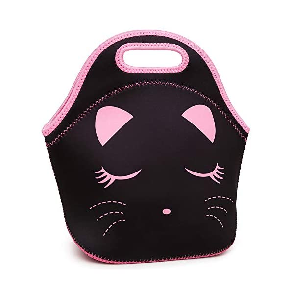 Moonmo Cat Face Unicorn Face Insulated Neoprene Lunch Bag for Women and Kids - Reusable Soft Lunch Tote for Work and School (Cat Black) 7