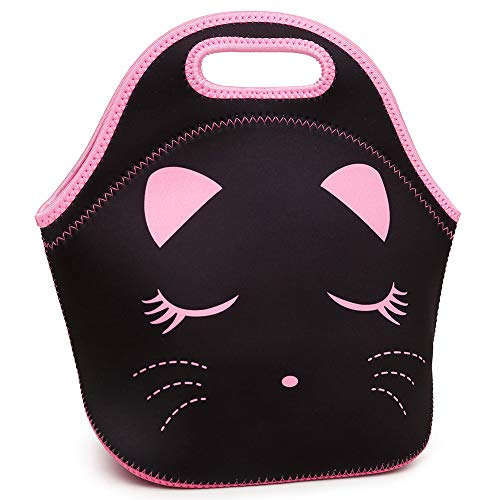 Moonmo Cat Face Unicorn Face Insulated Neoprene Lunch Bag for Women and Kids - Reusable Soft Lunch Tote for Work and School (Cat Black)]()