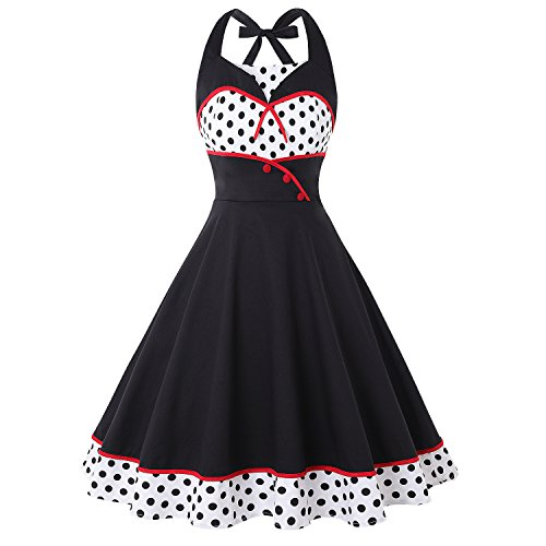 (Wellwits Women's Polka Dots Halter 1950s Vintage Pin up Sailor Dress Black)