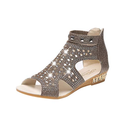 - Fudule Wedge Sandals Shoes Women Mid Heels Bohemia Shoes Outdoor Sandals Summer Slip On Shoes
