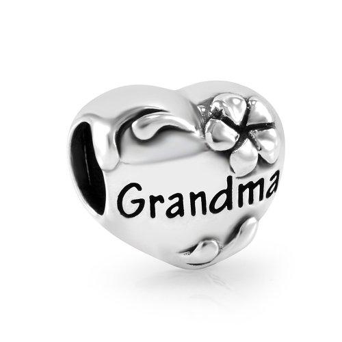 925 Sterling Silver Mom Grandma Nana Family Heart Bead Charm Fit Major Brand Bracelet
