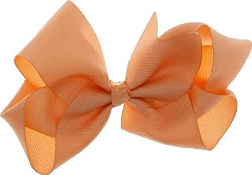 Beautiful Handmade Variety of Bright Colors Grosgrain Ribbon Bows with Alligator Clip (Peach) ()