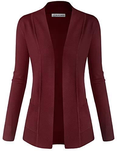 BIADANI Women Classic Soft Long Sleeve Open Front Cardigan Sweater Wine 2X-Large ()