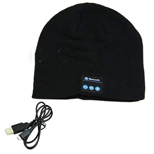 (LONIY 2018 Unisex Soft Warm Beanie Hat Wireless Bluetooth Smart Cap Headphone Headset Speaker Mic 11 Colors,Black)
