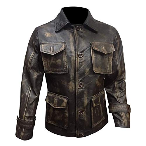 Streamline choice Mens Supernatural Jensen Ackles (Dean Winchester) Distressed Real Leather Jacket - Brown - XX-Small