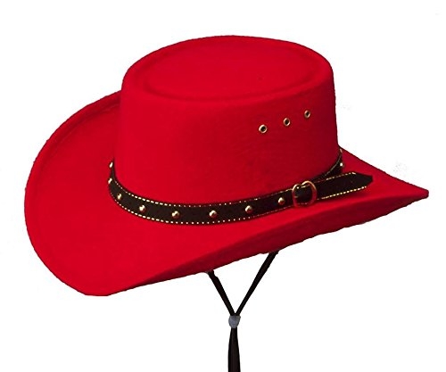 [Western Express Men's Faux Felt Midland Gambler Cowboy Hat with Band - Red Color Kids Size] (Red Felt Cowboy Hat With Band)