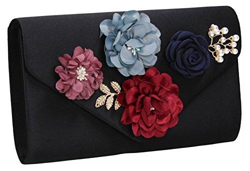 SwankySwans Womens Black Womens Satin Clutch Markle SwankySwans Floral 0x04r7w