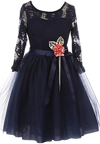 - Big Girl Floral Lace Top Tulle Flower Holiday Party Flower Girl Dress USA Navy 10 JKS 2098