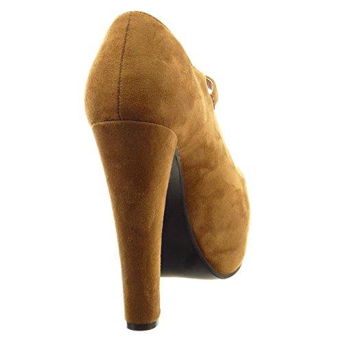 Sopily - Scarpe da Moda Stivaletti - Scarponcini zeppe aperto alla caviglia donna fibbia Tacco a blocco tacco alto 13 CM - Cammello