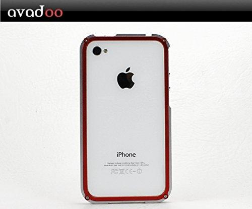 Blade Case iPhone 4 aus Aluminium Silber/Rot Avadoo