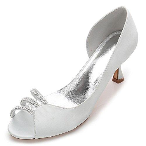 Toe para L Florales Medio YC la Peep Zapatos Novia Que 32 ML17061 de Casan broches con Silver Mujer los a8pwTarq