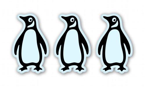 Penguins Set of 3 Vinyl Sticker - Car Window Bumper Laptop - SELECT (Penguin Vinyl)