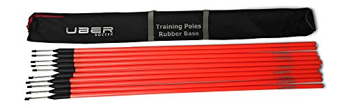 Uber Soccer Agility Training Poles with Rubber Flexi Base - Set of 10 - Orange with Black Bag ()