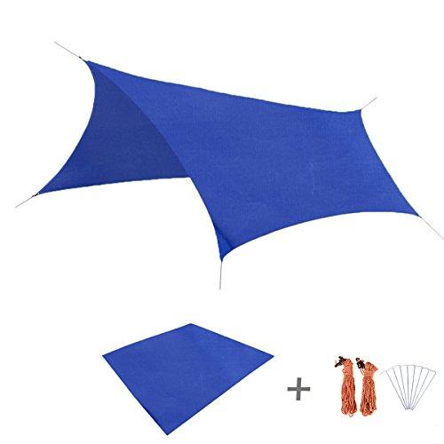 Triwonder Outdoor Waterproof Camping Shelter Footprint Groundsheet Beach Picnic Blanket Mat (Dark Blue, M+Accessories)