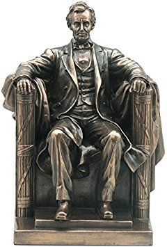 9 Inch Seated Abraham Lincoln Bronze Finish Statue / Bookend Sculpture