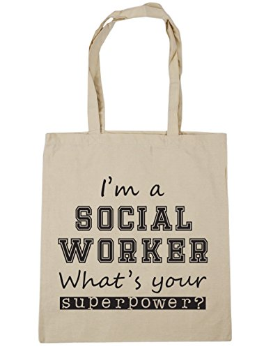 Your Superpower Bag What's 10 42cm A litres Social I'm Shopping HippoWarehouse x38cm Tote Worker Natural Beach Gym wqxCnXAPf
