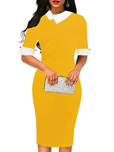 Knee Length Sheath - oxiuly Women's Elegant Doll Collar Cotton Stretchy Bodycon Formal Work Office Pencil Sheath Midi Casual Dress OX276 (L, Yellow Solid)