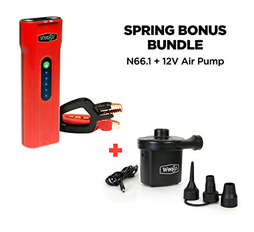 (WEEGO 66.1 Jump Starting Power Pack with SPRING BONUS Weego 12V Air Pump for Inflatables, 600 Cranking Amps, New Model, Lithium Ion, 600 Lumen LED Flashlight, Quick-Charges Phones, Water Resistant)