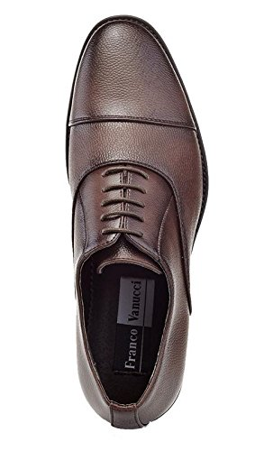 Men's Shoes Brown Franco Texture Toe Vanucci Cap Oxford 5aYRBpnq