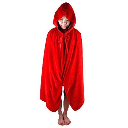 Samtree Christmas Halloween Costumes Cape for Kids,Velvet Hooded Cosplay Party Cloak (L(Length:39.4