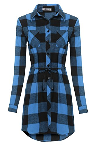 Shirt Button Belted Dress Front - HOTOUCH Classic Boyfriend Plaid Shirt Dress Long Sleeved with Waistline