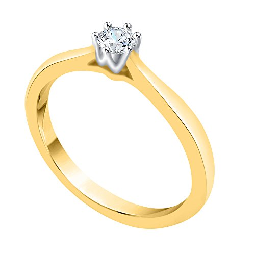 KATARINA Diamond Solitaire Promise Ring in 10K Yellow Gold (1/6 cttw, G-H, I2-I3) (Size-8.5)