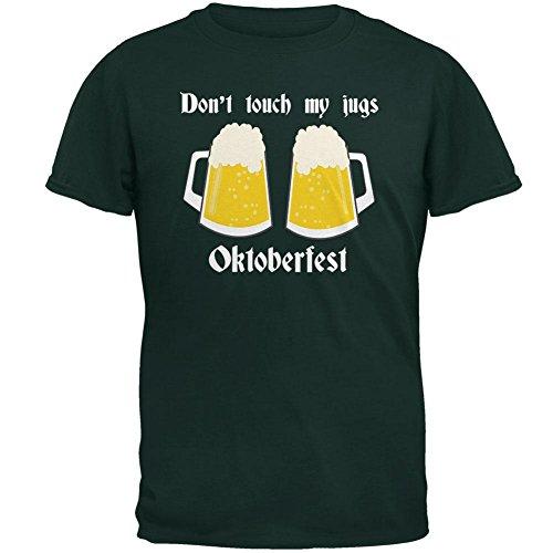 (Oktoberfest Dont Touch My Jugs German Beer Stein Mens T Shirt Forest Green 2XL)