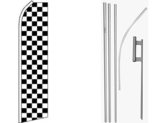 Black White Checker Checkered Swooper Super Flag & 16ft Flagpole Kit / Ground Spike by FlagsImporter
