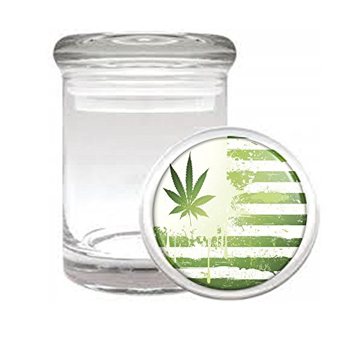 Medical Glass Stash Jar Vintage Marijuana Art S2 Air Tight Lid 3'' x 2'' Small Storage Herbs & Spices 420 Weed